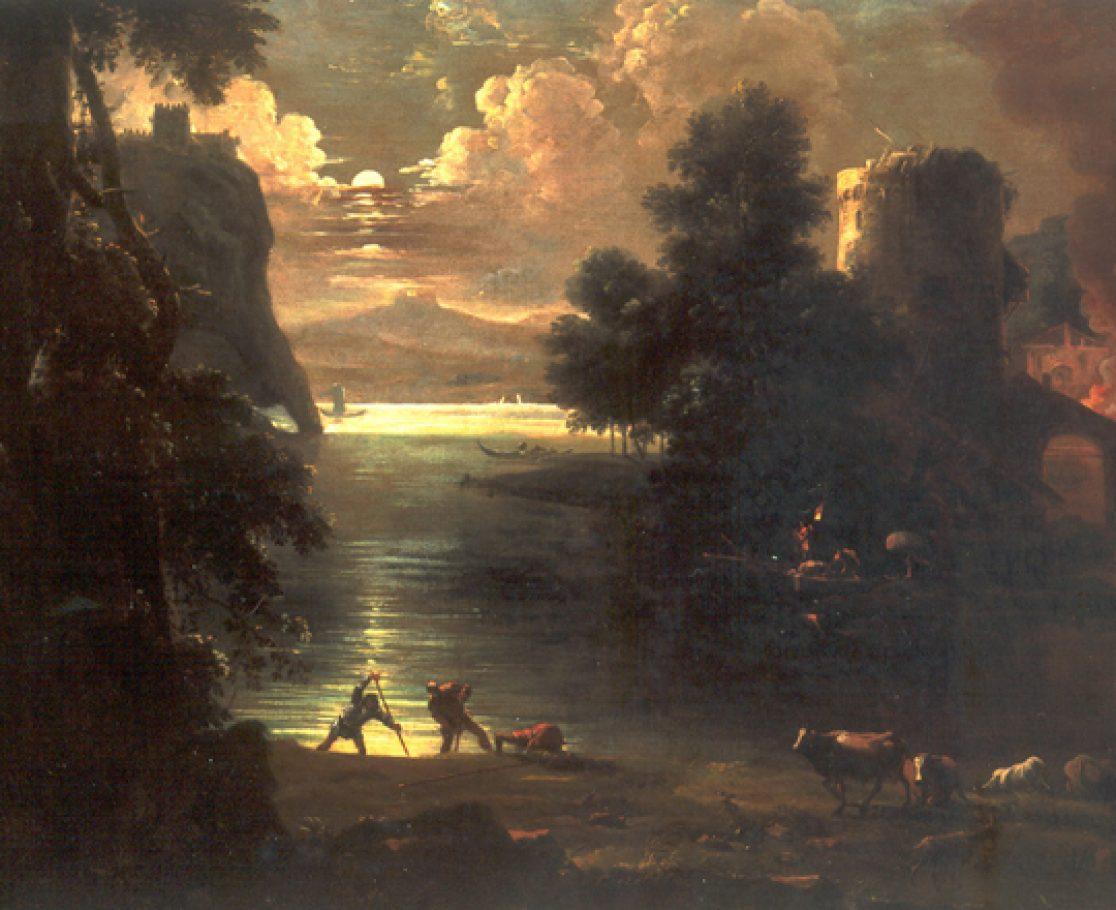 Paesaggio con plenilunio ed incendio, 1718 - 1720, Olio su tela, cm 63x88.