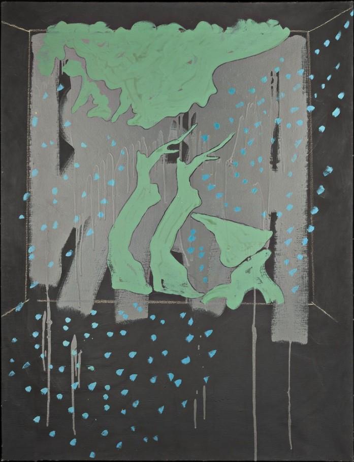Tano Festa. Paesaggio su fondo nero, Asolo, agosto 1971, Smalto e gessetto su tela, cm. 116x89