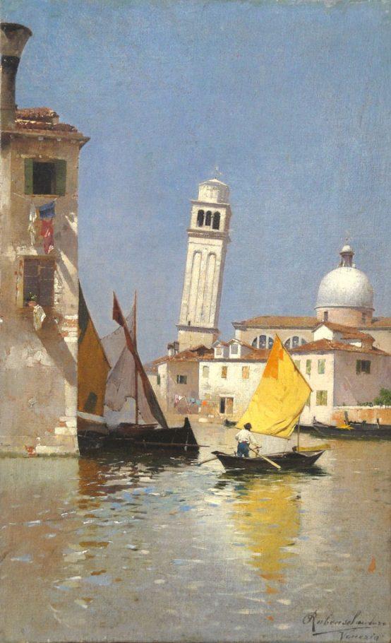 Rubens Santoro, Veduta di San Pietro di Castello a Venezia, 1880-1885, cm. 41,3x33,7