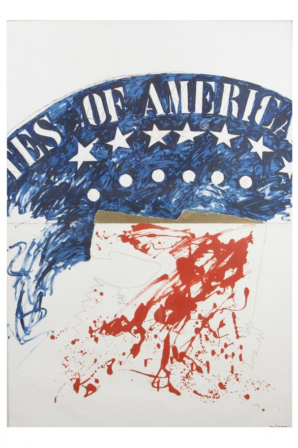 Franco Angeli, Of America, 1964, Tecnica mista su cartone, cm. 140x100