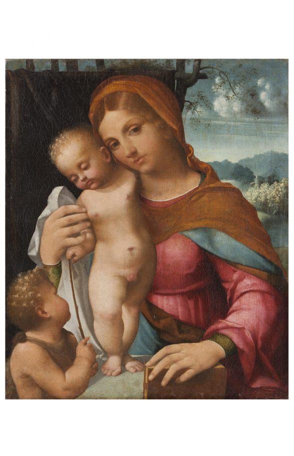 Il Moro, Madonna con Bambino e San Giovannino, 1516 circa, Olio su tela, cm. 70x60
