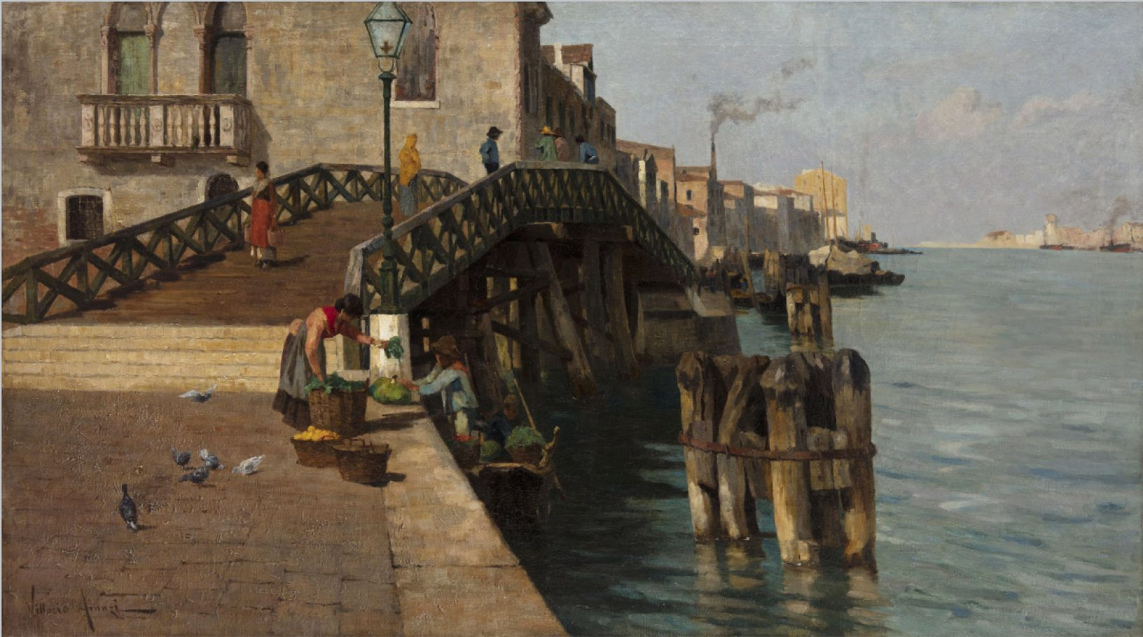 Vittorio Avanzi, Ponte Lungo alla Giudecca, 1890 circa.  Olio su tela, cm. 112.5x200.5