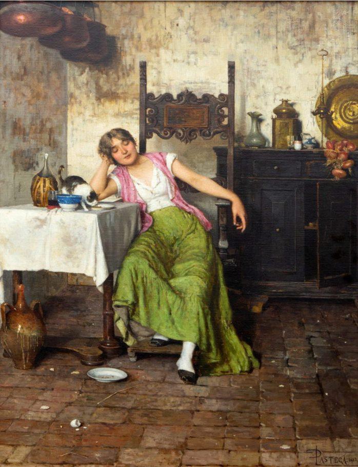 Luigi Pastega, Post prandium, 1883. Olio su tela, cm. 86x65