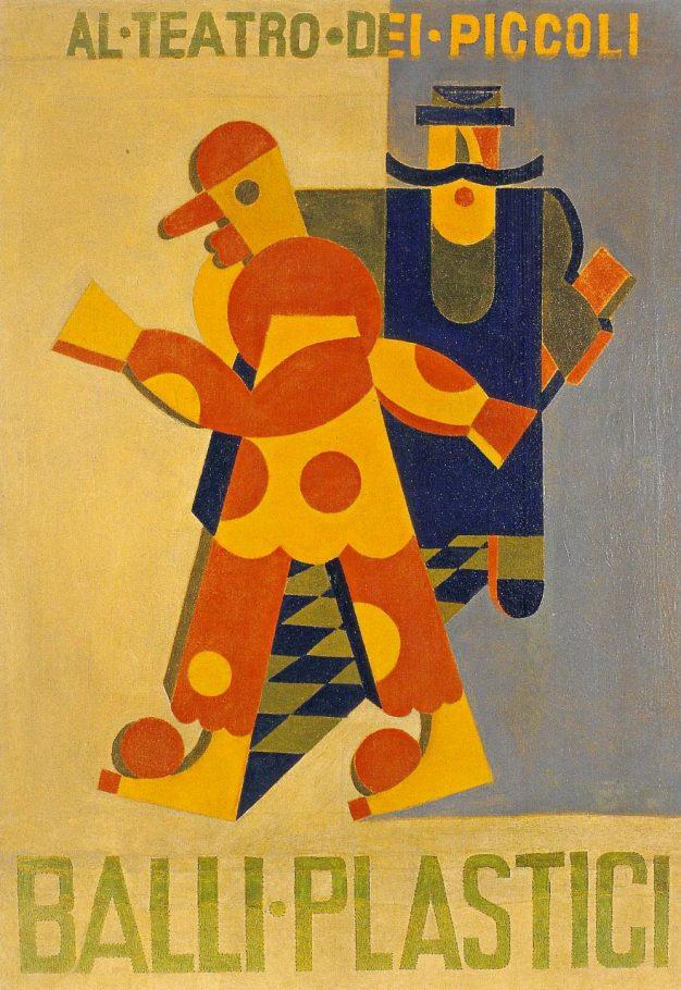 Fortunato Depero, Balli plastici, 1918, olio su tela, cm. 101x75