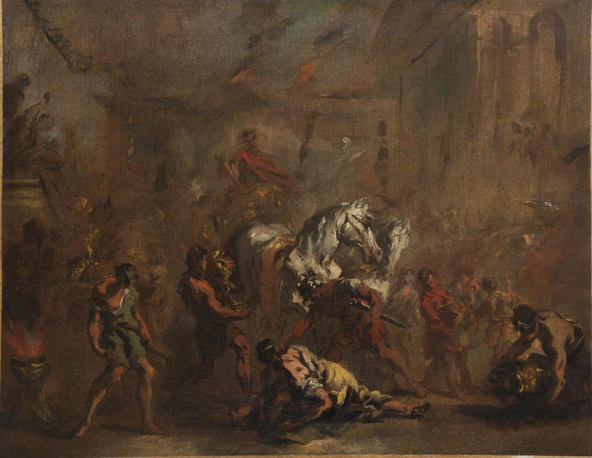Giovan Antonio Guardi, Trionfo di un condottiero romano, olio su tela, cm. 46,5x60