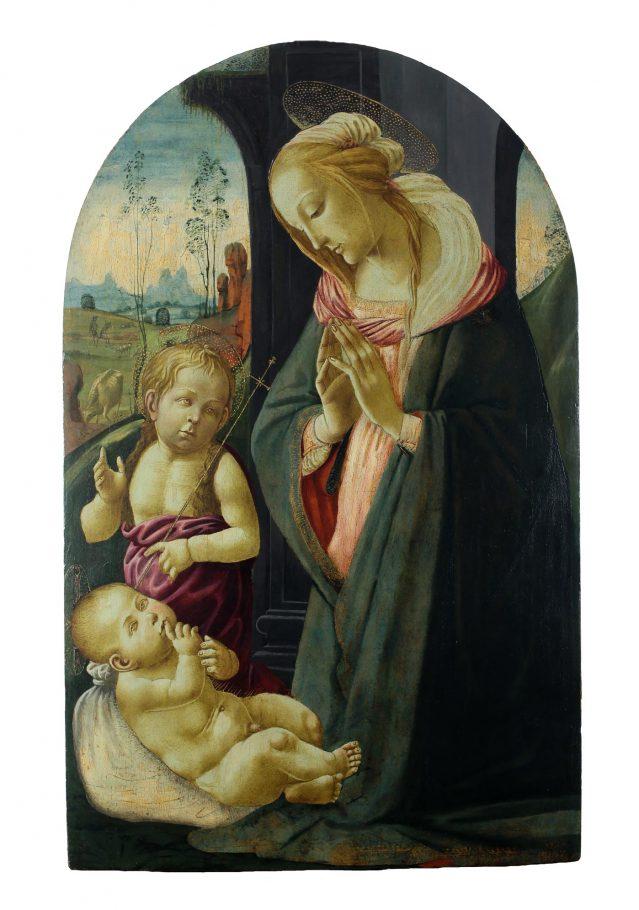 Jacopo del sellaio, Madonna con Bambino e San Giovannino, tempera su tavola, cm. 114x80