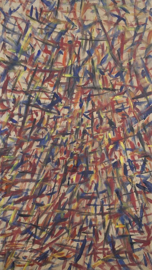 Tancredi Parmeggiani, Senza Titolo, 1957, olio su tela, cm. 135x75